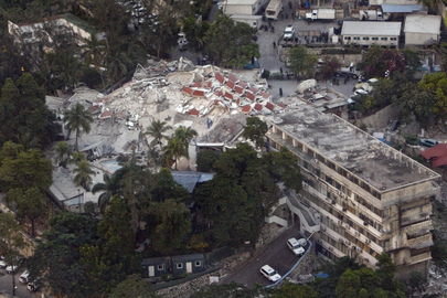 Inner City Press photo of Hotel Christopher - rented as UN mission HQ in Haiti - where Hedi Annabi died in earthquake